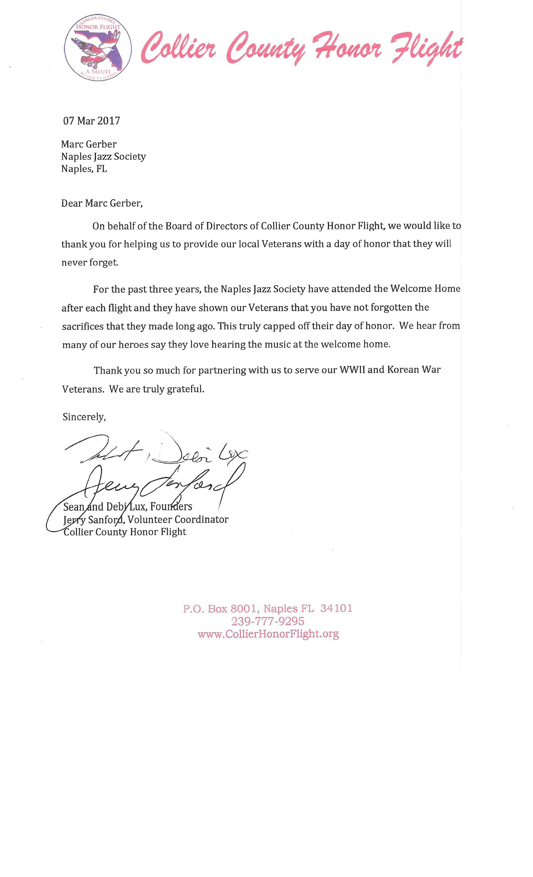 Honor Flight Letter